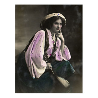 Vintage Portrait of a Gypsy Girl Postcard