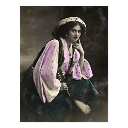 Vintage Portrait of a Gypsy Girl Postcard