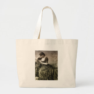 Vintage Portrait of a Lady Reading Jumbo Tote Bag