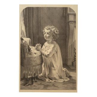 Vintage Portrait of a Little Girl Praying Wood Wall Art