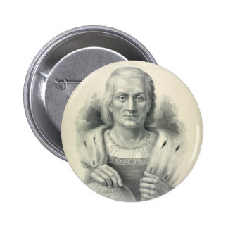 Vintage Portrait of Christopher Columbus Pinback Buttons
