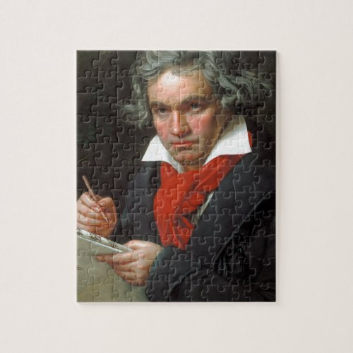 Vintage portrait of composer Ludwig von Beethoven Jigsaw Puzzle
