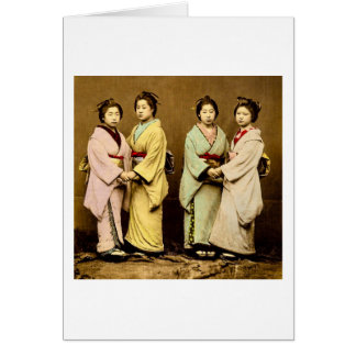 Vintage Portrait of Four Geisha Old Japan Card