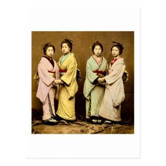 Vintage Portrait of Four Geisha Old Japan Postcard