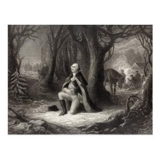 Vintage Portrait of George Washington Praying Postcard