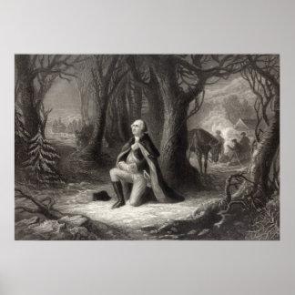 Vintage Portrait of George Washington Praying Poster