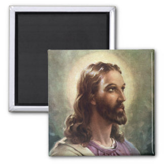 Vintage Portrait of Jesus Christ, Religious People 2 Inch Square Magnet