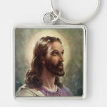 Vintage Portrait of Jesus Christ, Religious People Silver-Colored Square Keychain