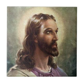 Vintage Portrait of Jesus Christ, Religious People Tile