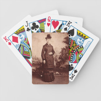 Vintage Portrait of Lady in Hat and 1800s Dress Bicycle Playing Cards
