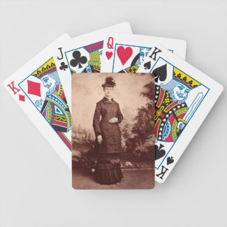 Vintage Portrait of Lady in Hat and 1800s Dress Poker Deck