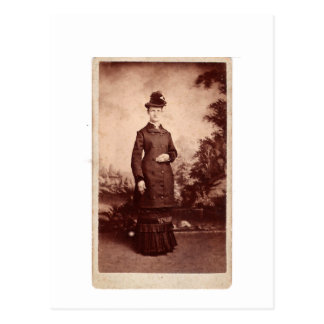Vintage Portrait of Lady in Hat and 1800s Dress Postcard