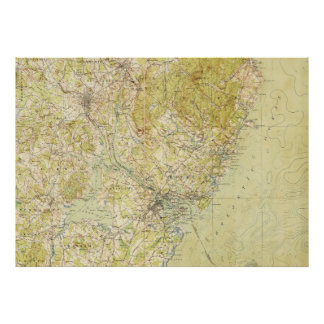Vintage Portsmouth NH Topographic Map (1917) Poster
