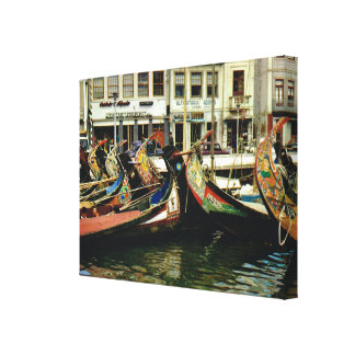 Vintage Portugal, Aveiro,  decorated boats Stretched Canvas Print