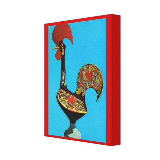 Vintage Portugal, Cockerel of Barcelos Stretched Canvas Print