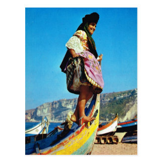 Vintage Portugal,  Nazare, girl on a fishing boat Postcard