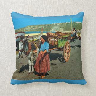 Vintage Portugal, Nazare, unloading sardine boats Throw Pillow