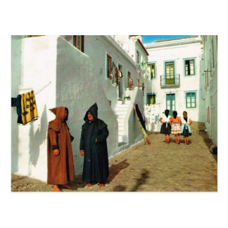 Vintage Portugal, Nazare, viudos, casas blancas Postal