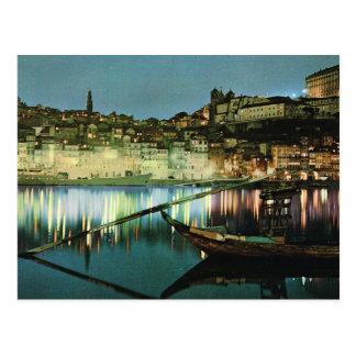 Vintage Portugal, Oporto, barco del vino en el Due Tarjeta Postal