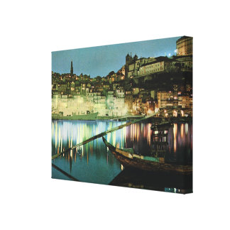 Vintage Portugal, Porto by night, wine barge Canvas Print