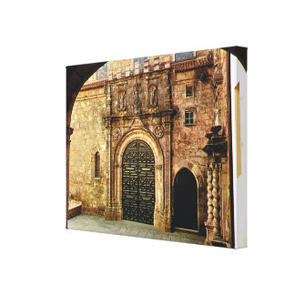 Vintage Portugal, Porto Cathedral entrance Stretched Canvas Print