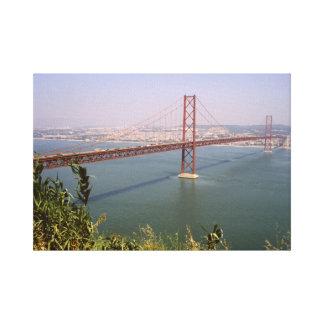 Vintage Portugal, Tejo River Bridge Lisbon Canvas Print