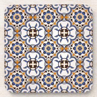 Vintage Portuguese Azulejo Blue Yellow Pattern Coaster