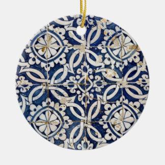 Vintage Portuguese Azulejo Double-Sided Ceramic Round Christmas Ornament