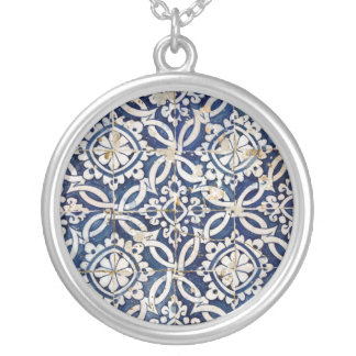 Vintage Portuguese Azulejo Round Pendant Necklace