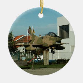 Vintage Portuguese Fighter Jet Ceramic Ornament