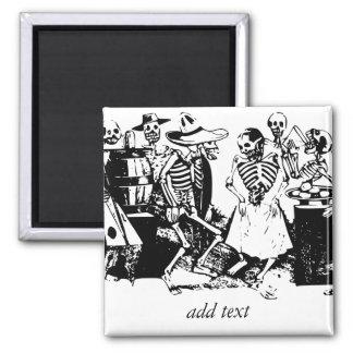 Vintage Posada Mexican Skeleton Dance 2 Inch Square Magnet