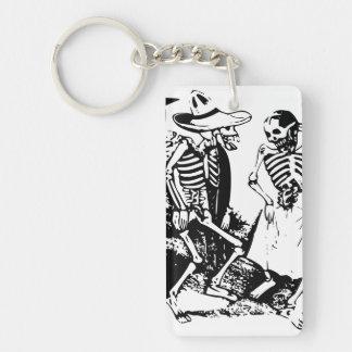 Vintage Posada Mexican Skeleton Dance Keychain