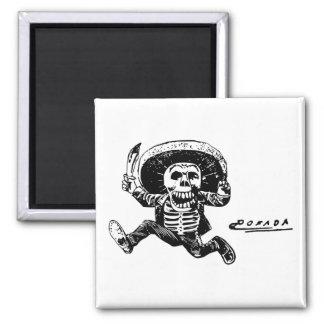 Vintage Posada Mexican Skeleton Knife 2 Inch Square Magnet