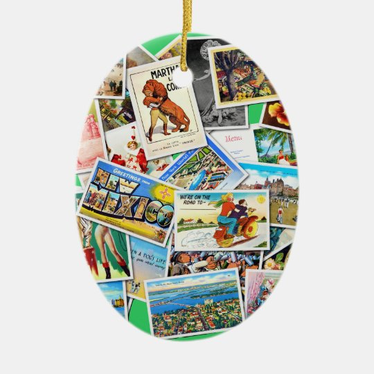 Vintage Post Card Collage Ceramic Ornament