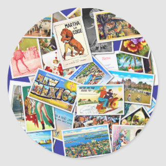 Vintage Post Card Collage Classic Round Sticker