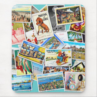 Vintage Post Card Collage Mouse Pad