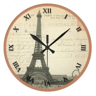 VIntage Post Card Eiffel Tower Clock