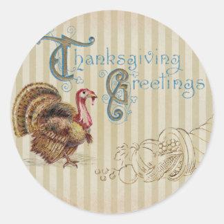 Vintage Post Card Thanksgiving Turkey Sticker