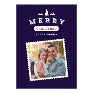 Vintage Postage Stamp Christmas Photo Card