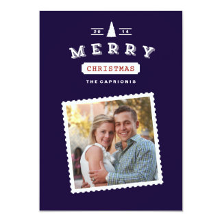 Vintage Postage Stamp Christmas Photo Card Personalized Invite