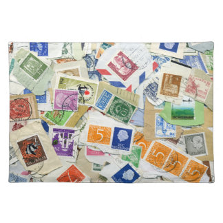 Vintage Postage Stamp Collage Placemat Cloth Placemat
