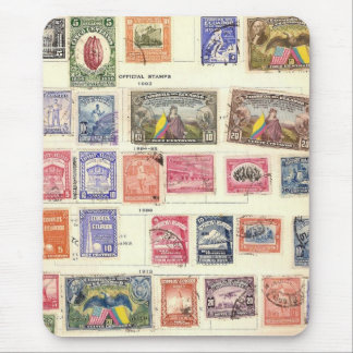 Vintage Postage Stamp Collection Mouse Pad