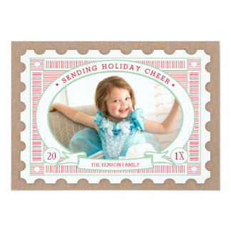 Vintage Postage Stamp Holiday Photo Card