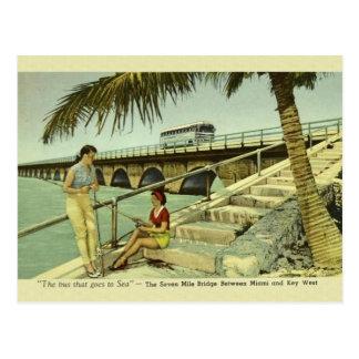 Vintage postal de la Florida del puente de siete