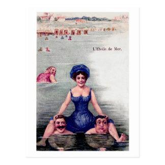 Vintage Postcard Beach Swimmers