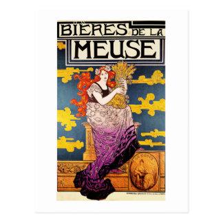Vintage Postcard:  Bieres de la Meuse Postcard
