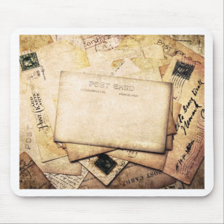 Vintage postcard collage, by healing love mouse pad