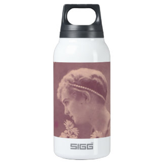 Vintage Postcard-Daisy Girl Insulated Water Bottle
