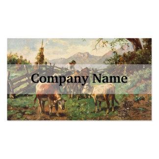 Vintage Postcard, Farmer Herding Cows Business Card