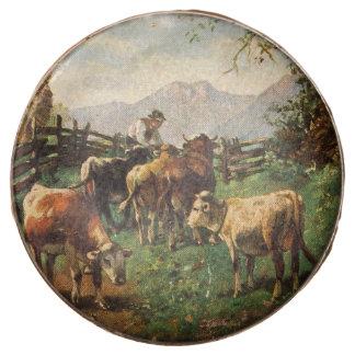 Vintage Postcard, Farmer Herding Cows Chocolate Dipped Oreo